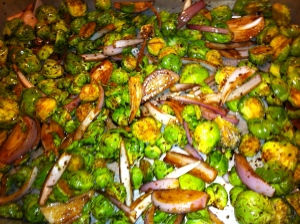 OK - so it's sprouts and shallots, drizzled with a fig balsamic vinegar and some good evoo.....